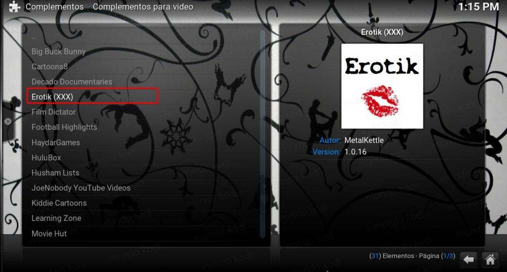 Erotik xxx en Kodi. select erotik