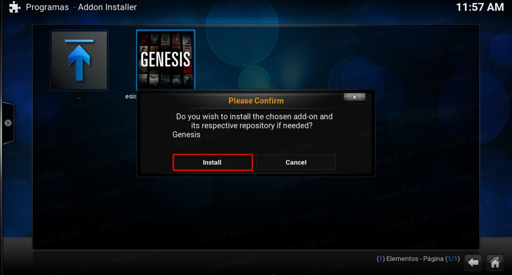 Genesis en Kodi. confirmar install