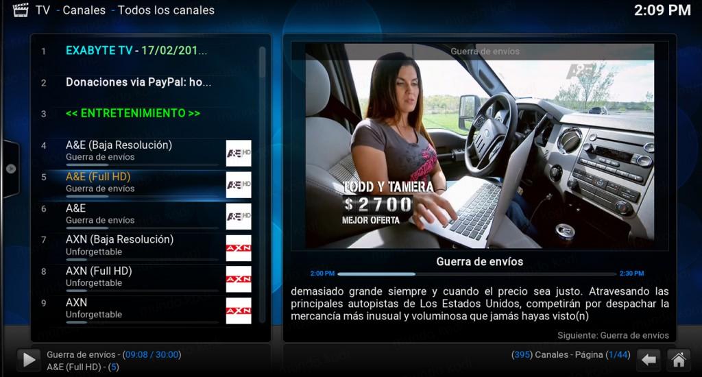 lista pvr exabyte tv. prueba