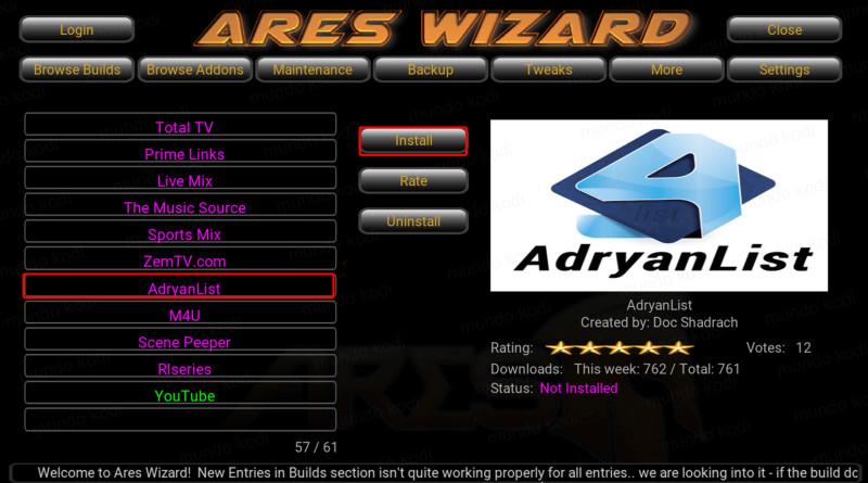 AdryanList con Ares Wizard.