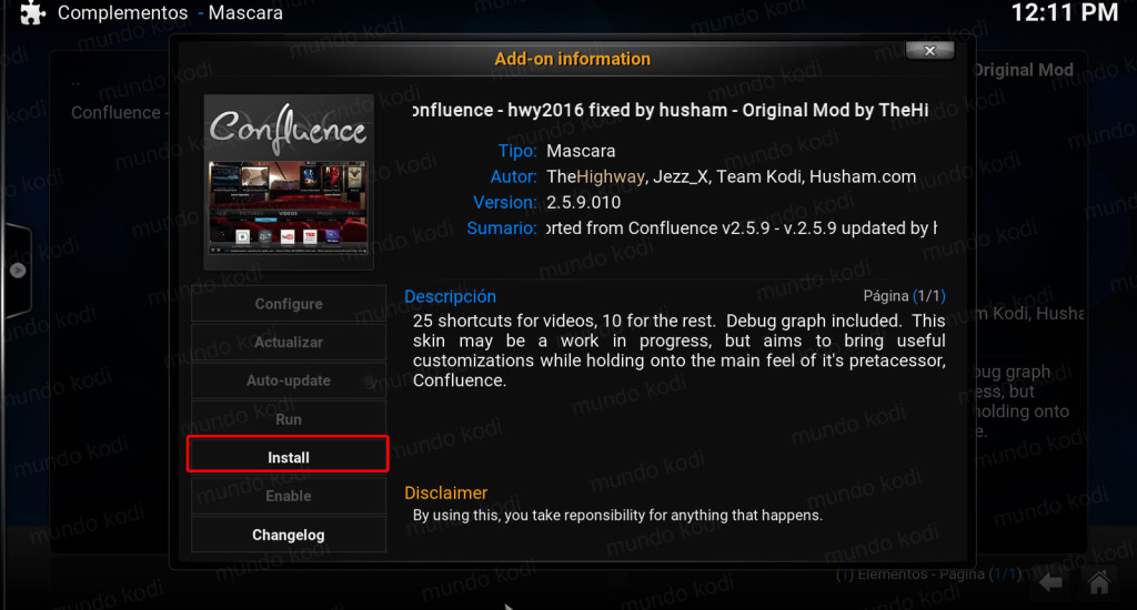 Accesos Directos en Kodi. install