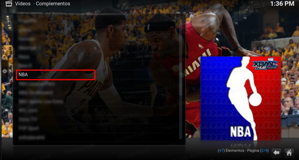 nba en kodi. addon nba