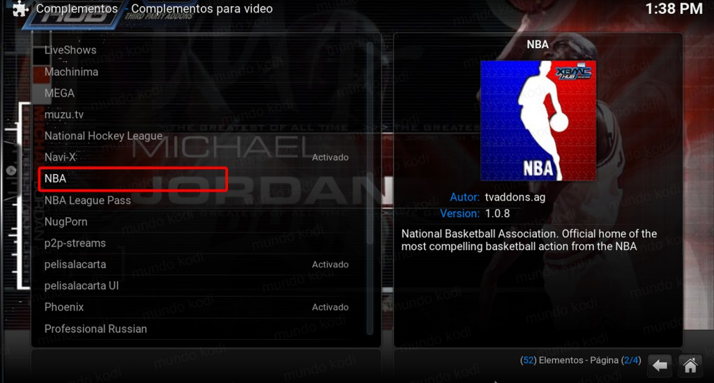 nba en kodi. addon nba repository