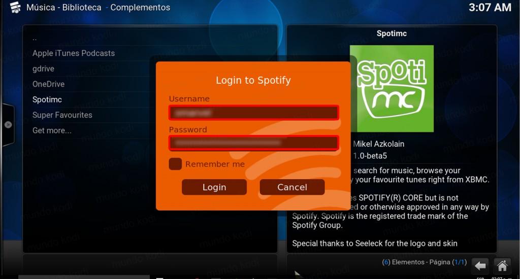spotmc en kodi completado login