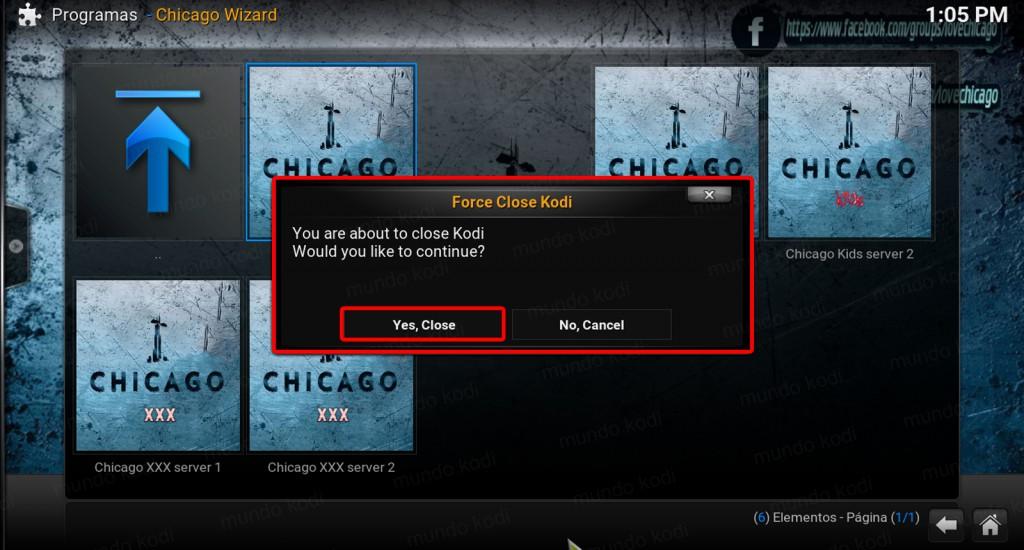 13 cierre forzado chicago en kodi