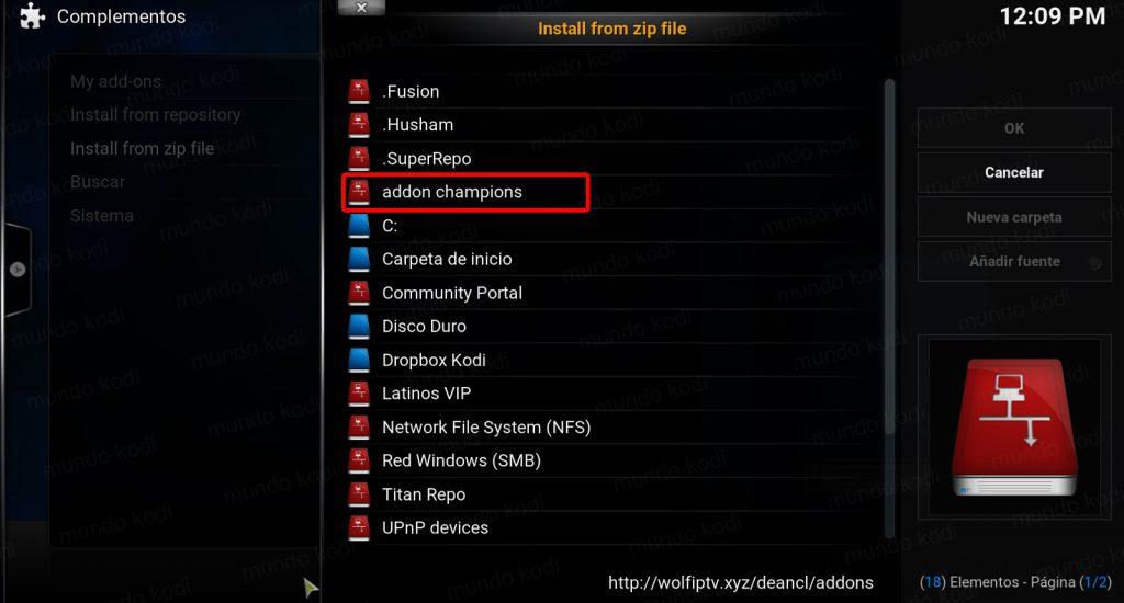 Addon Champions League y La Liga en Kodi