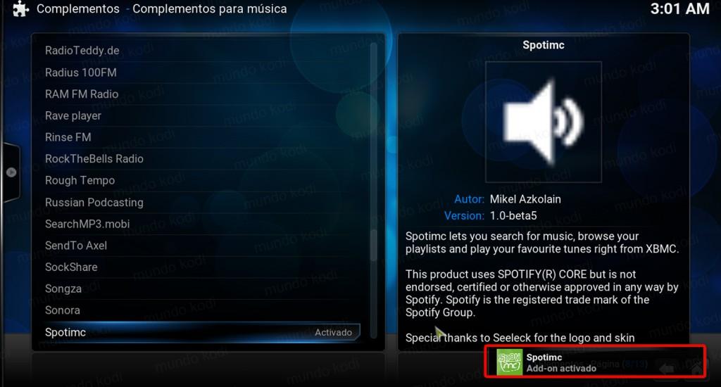 spotmc en kodi 4 addon instalado