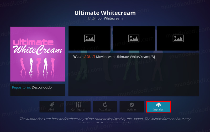 Addon Whitecream en Kodi