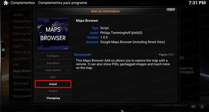google maps en kodi install