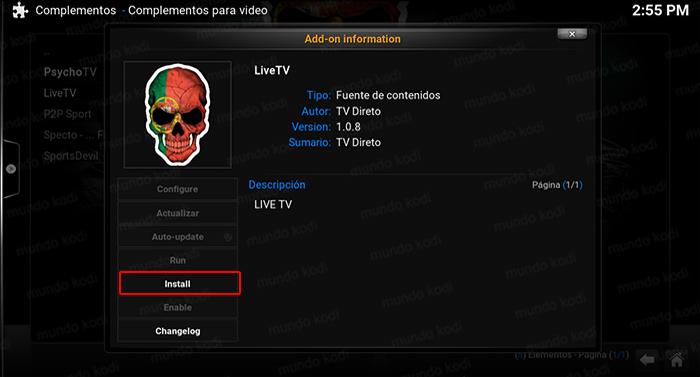 Addon LiveTV en Kodi 8 install