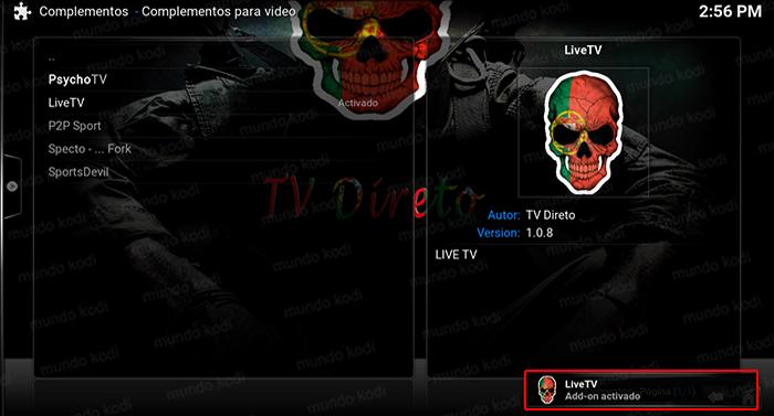 Addon LiveTV en Kodi 9 livetv activado