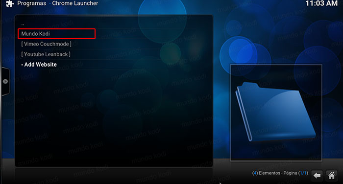 Chrome Launcher en Kodi lista