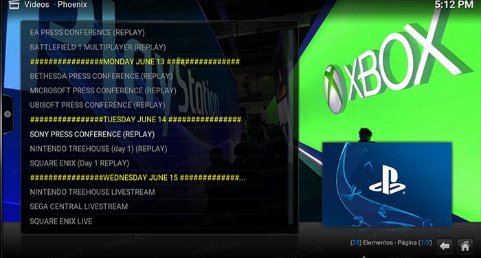 E3 2016 en Kodi lista
