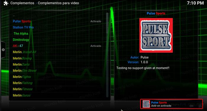 addon pulse sports en kodi addon activado