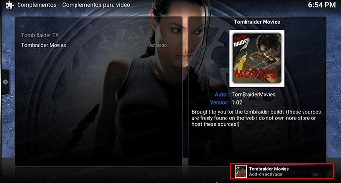 addon tombraider movies en Kodi addon activado