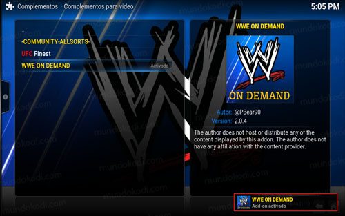 addon wwe on demand en Kodi 10-addon-activado