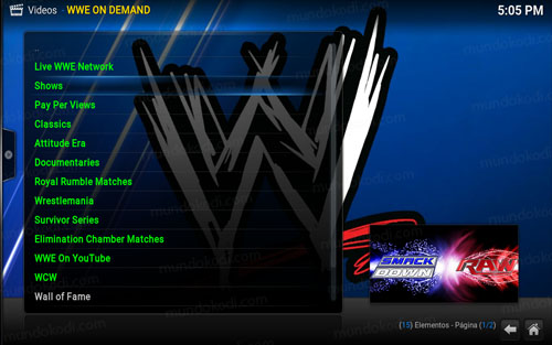 addon wwe on demand en Kodi 12-lista