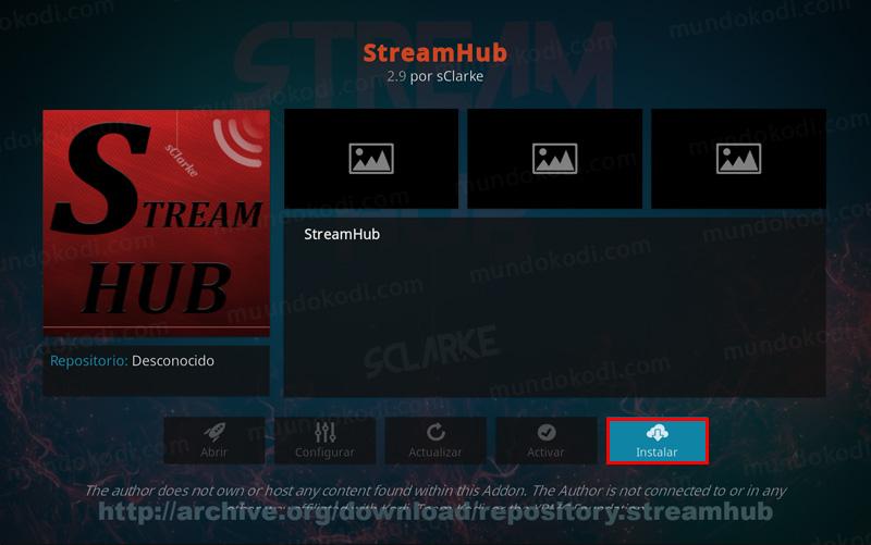 addon stream hub en kodi