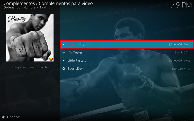 Addon Boxing Hit en Kodi