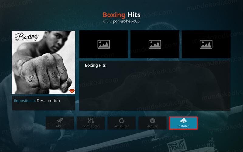Addon Boxing Hit en Kodi