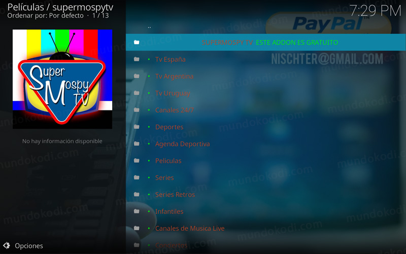 addon supermospy tv en kodi