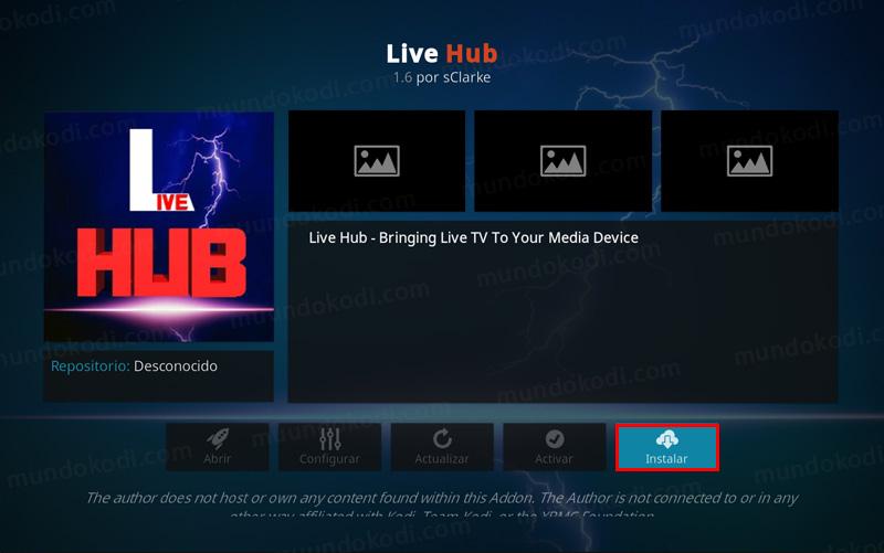 addon Live Hub en Kodi