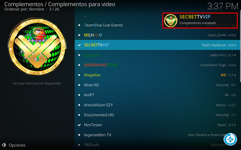 addon secret tv vip en kodi