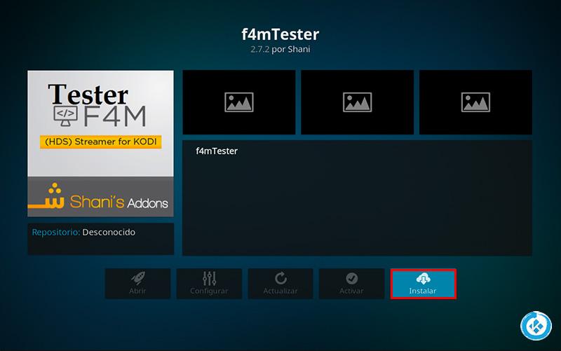 addon f4mTester en Kodi