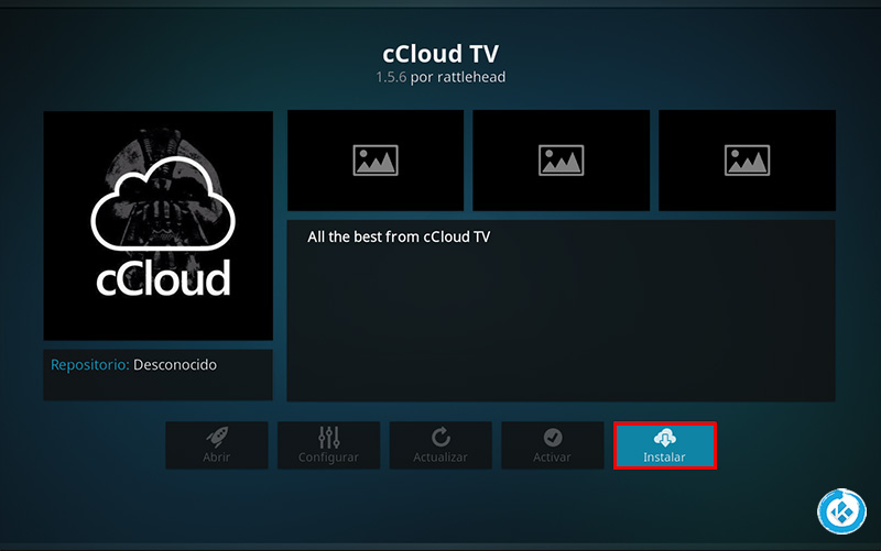 addon ccloud tv en kodi