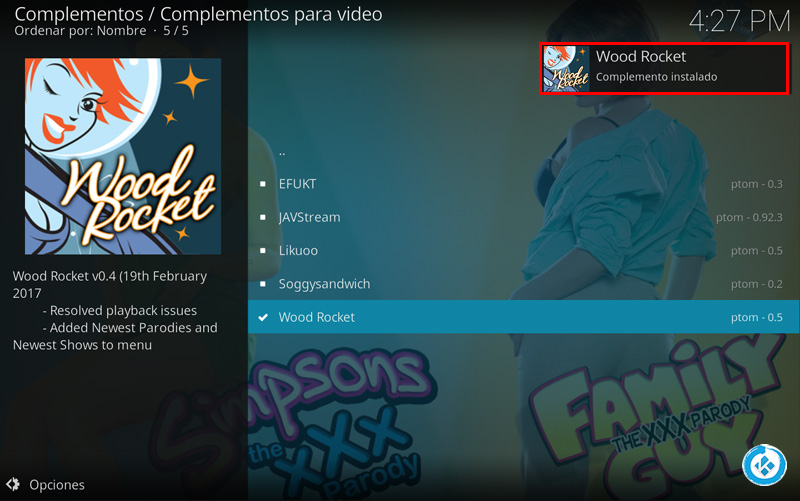 addon wood rocket en kodi