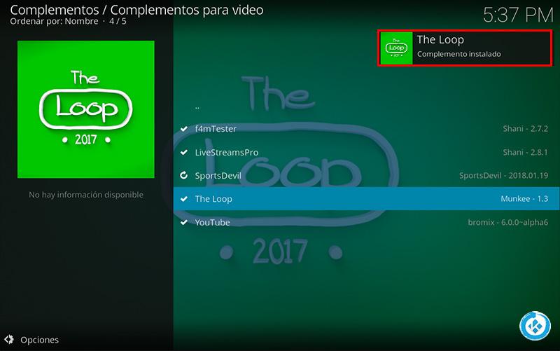 addon the loop en kodi