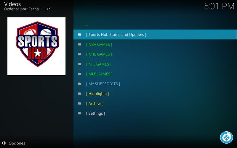 addon sports hub en kodi