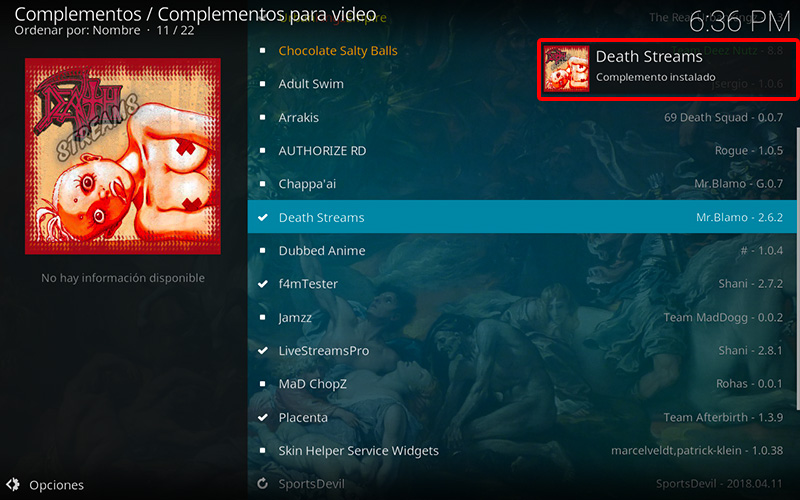 addon death streams en kodi