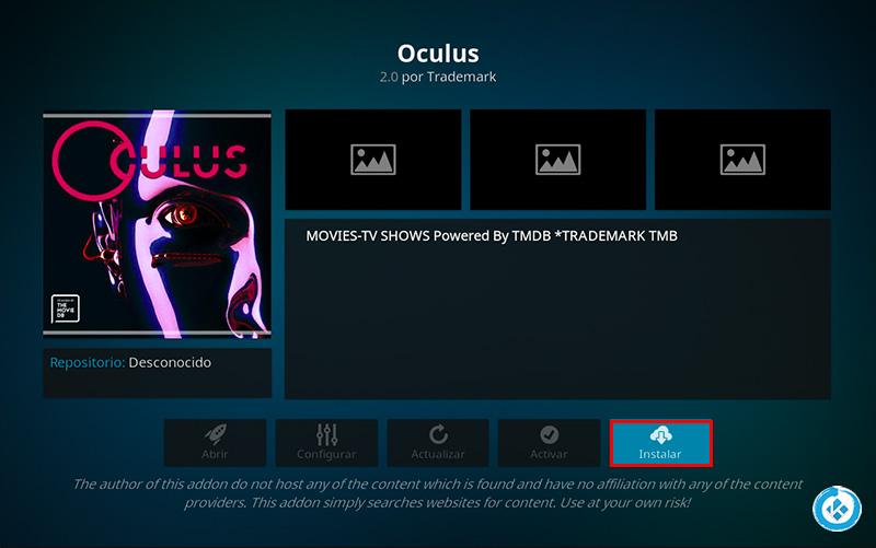 addon oculus en kodi