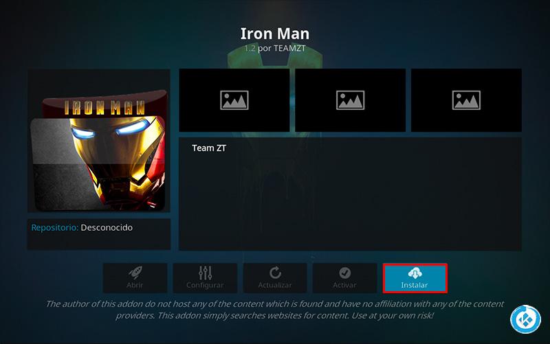 addon iron man en kodi