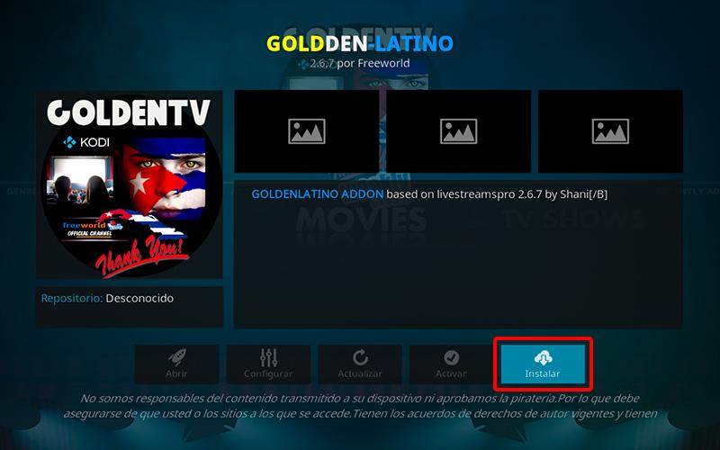 addon golden latino en kodi