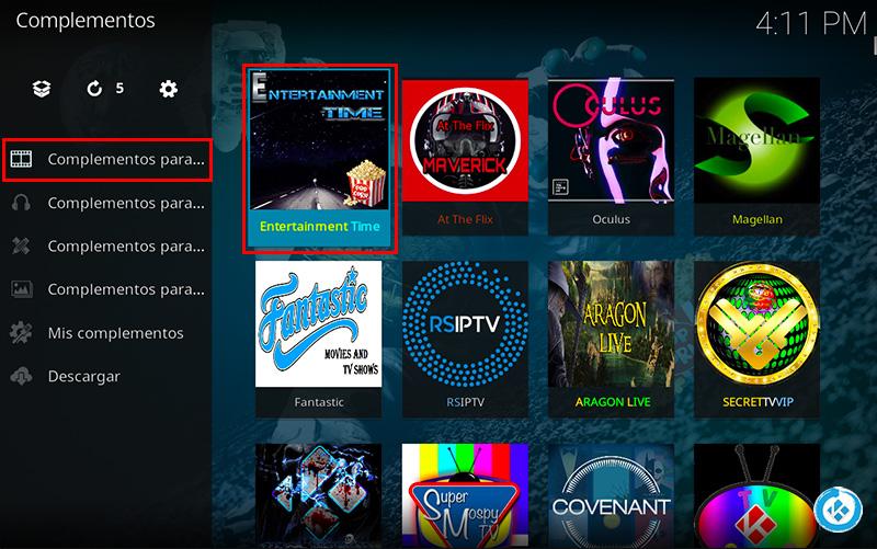 addon Entertainment Time en Kodi