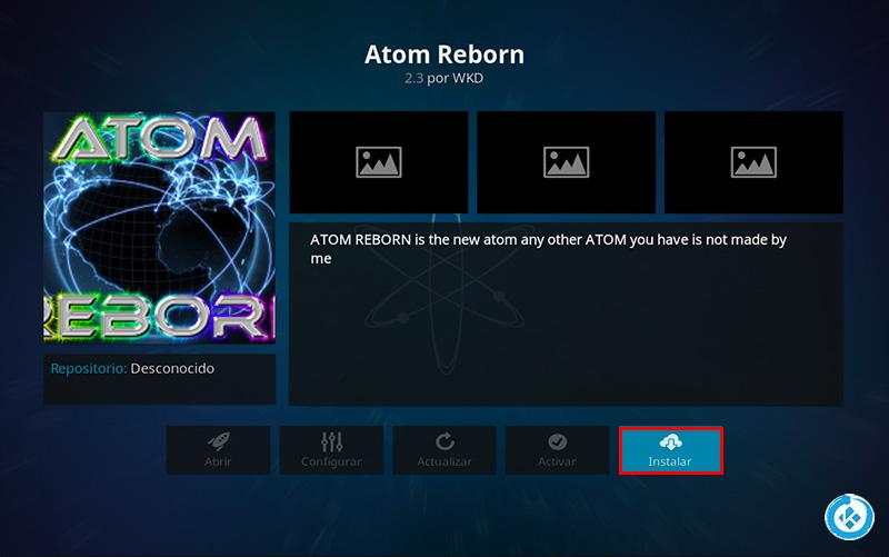 addon atom reborn en kodi