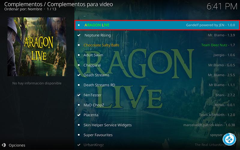 addon Aragon live en Kodi
