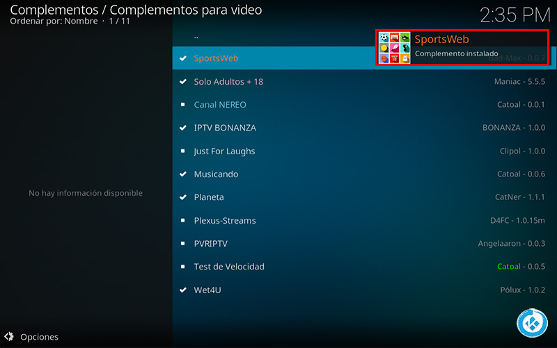 addon sports web en kodi