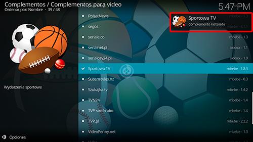 Sportowa TV en Kodi