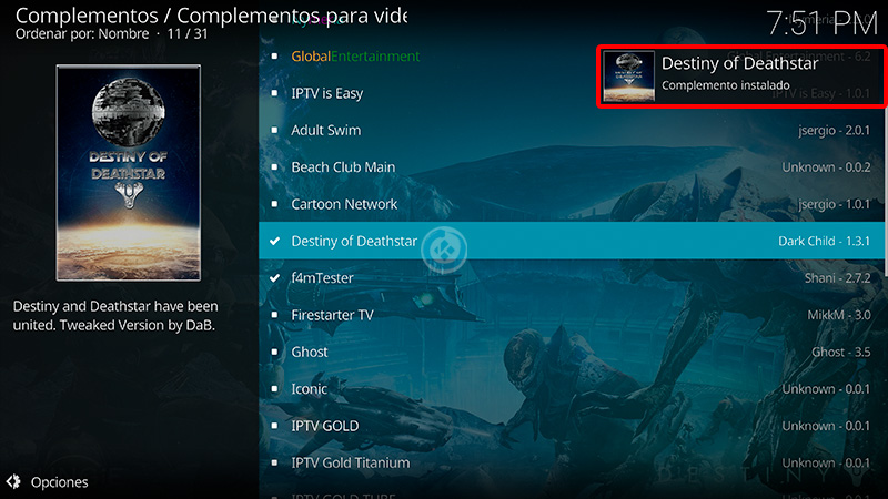 destiny of deathstar en kodi