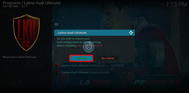 Latino Kodi Ultimate en Kodi