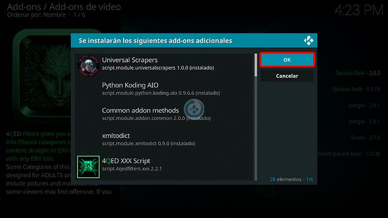 addon 4QED Filters en Kodi