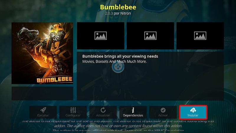 addon bumblebee en kodi