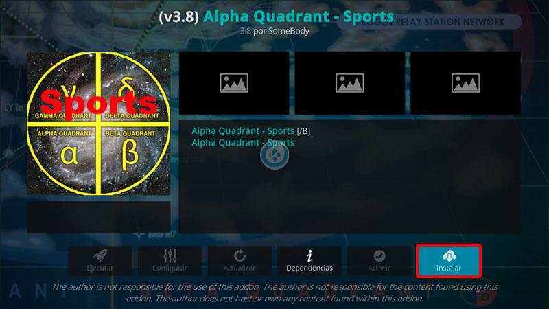 alpha quadrant sports en kodi