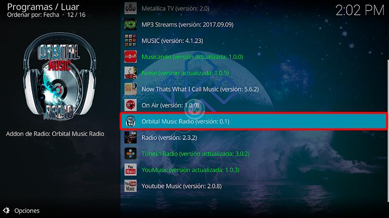 orbital music radio en kodi