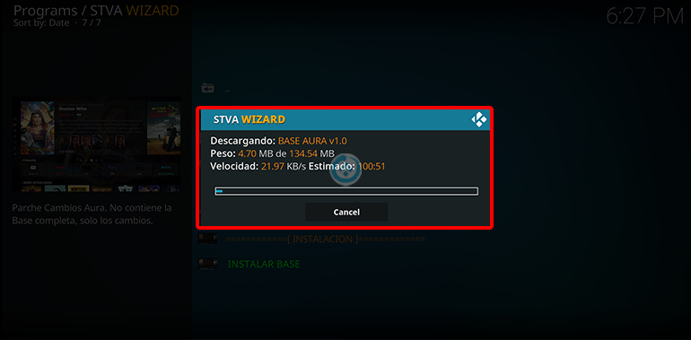build stva aura en kodi