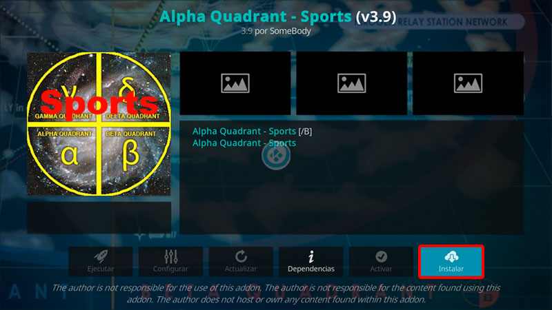 alpha quadrant sports en kodi