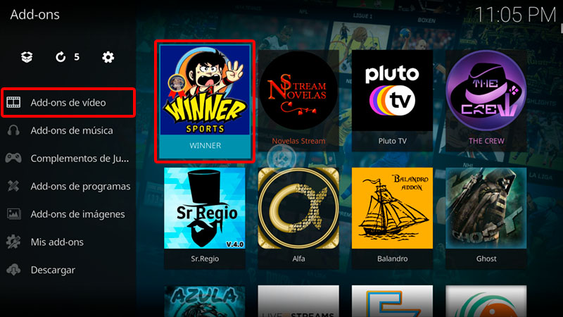 addon winner sports en kodi
